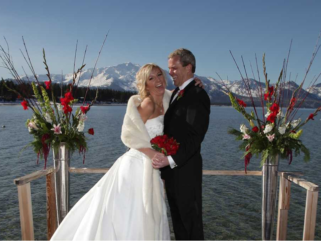 Wedding ceremony on the dock at The Beach Retreat