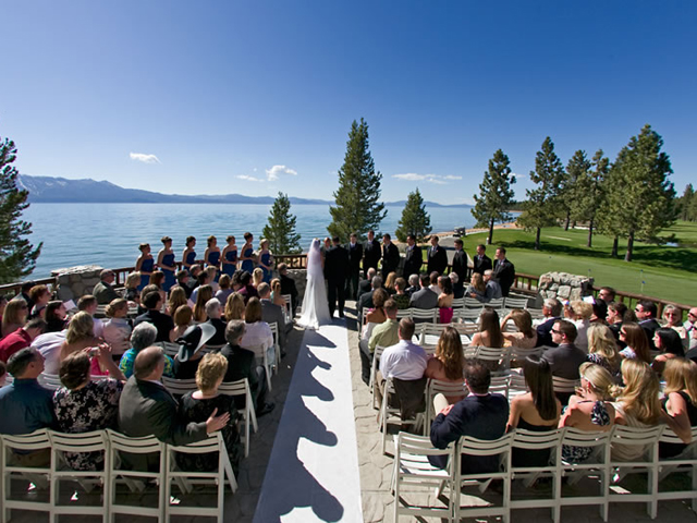 Wedding ceremony at Edgewood, Lake Tahoe