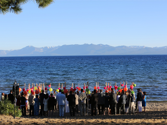 Wedding ceremony on the beach at North Tahoe Event Center