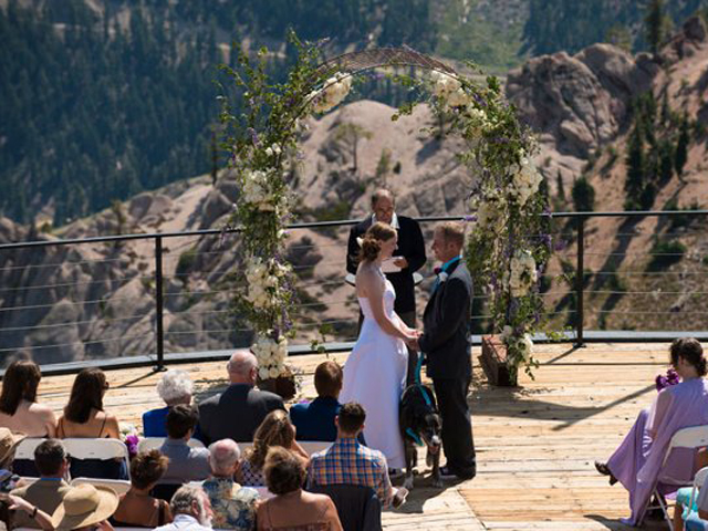 Wedding ceremony at High Camp, Squaw