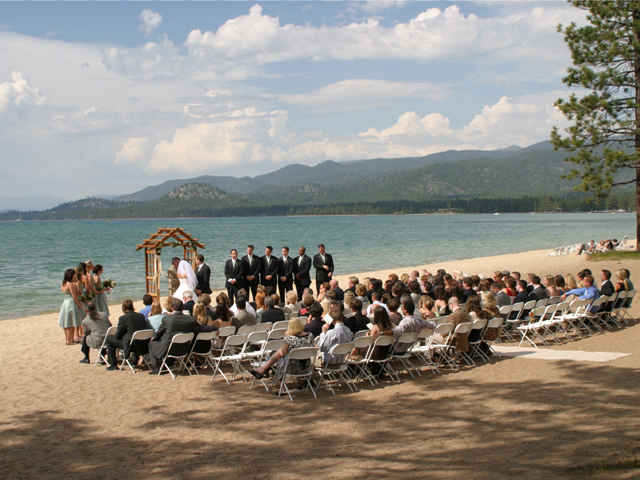 Lakeland Village ceremony on the beach.