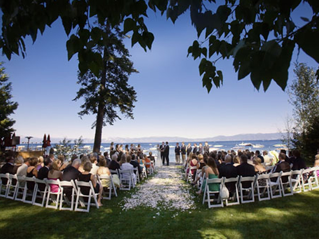 Outdoor ceremony at West Shore Cafe