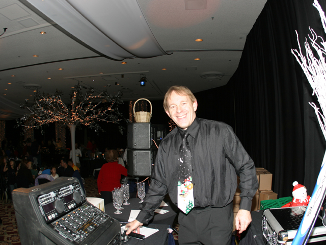 DJ playing at a Christmas party