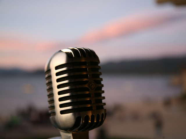 Shure 55SH Microphone in DJ booth above the beach