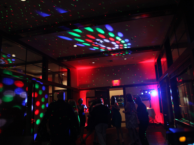 DJ Set up with lighting at holiday party