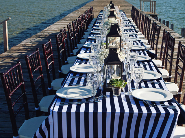 Wedding reception set on the dock