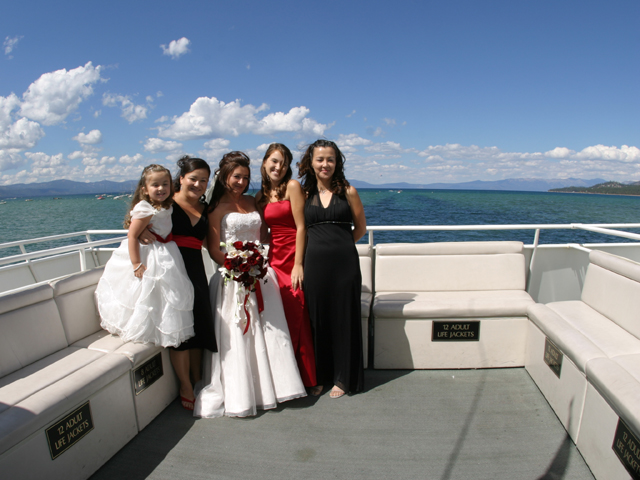 Bride and Bridesmaids on one of the boats