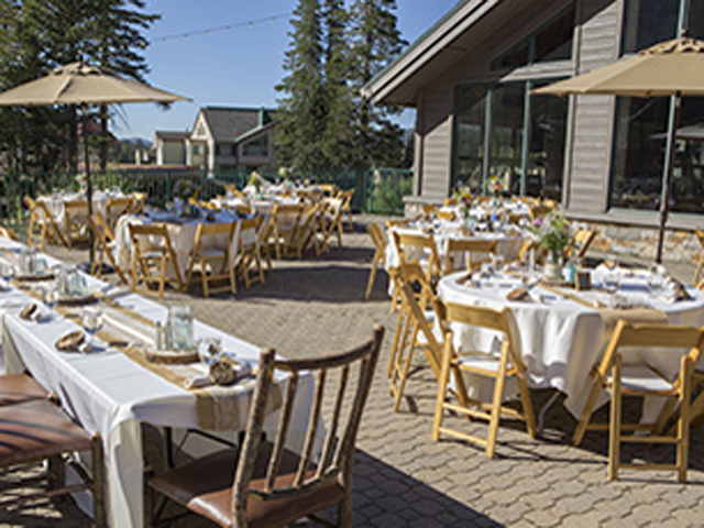 Reception set up outside deck at Kirkwood