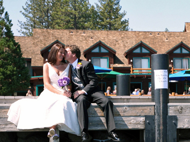 Bride and Groom on the dock at Sunnyside