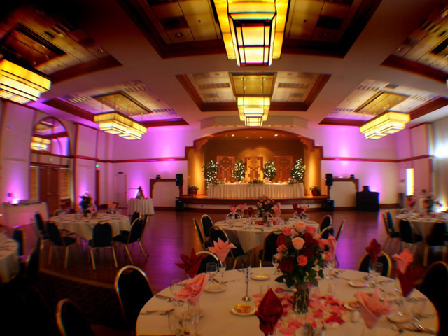 Timber Creek Ballroom set up with uplights