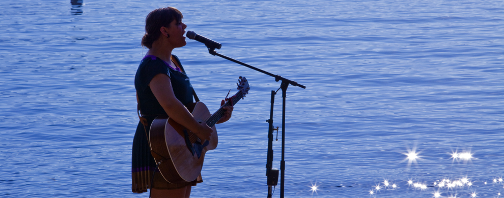 Live performer on beach